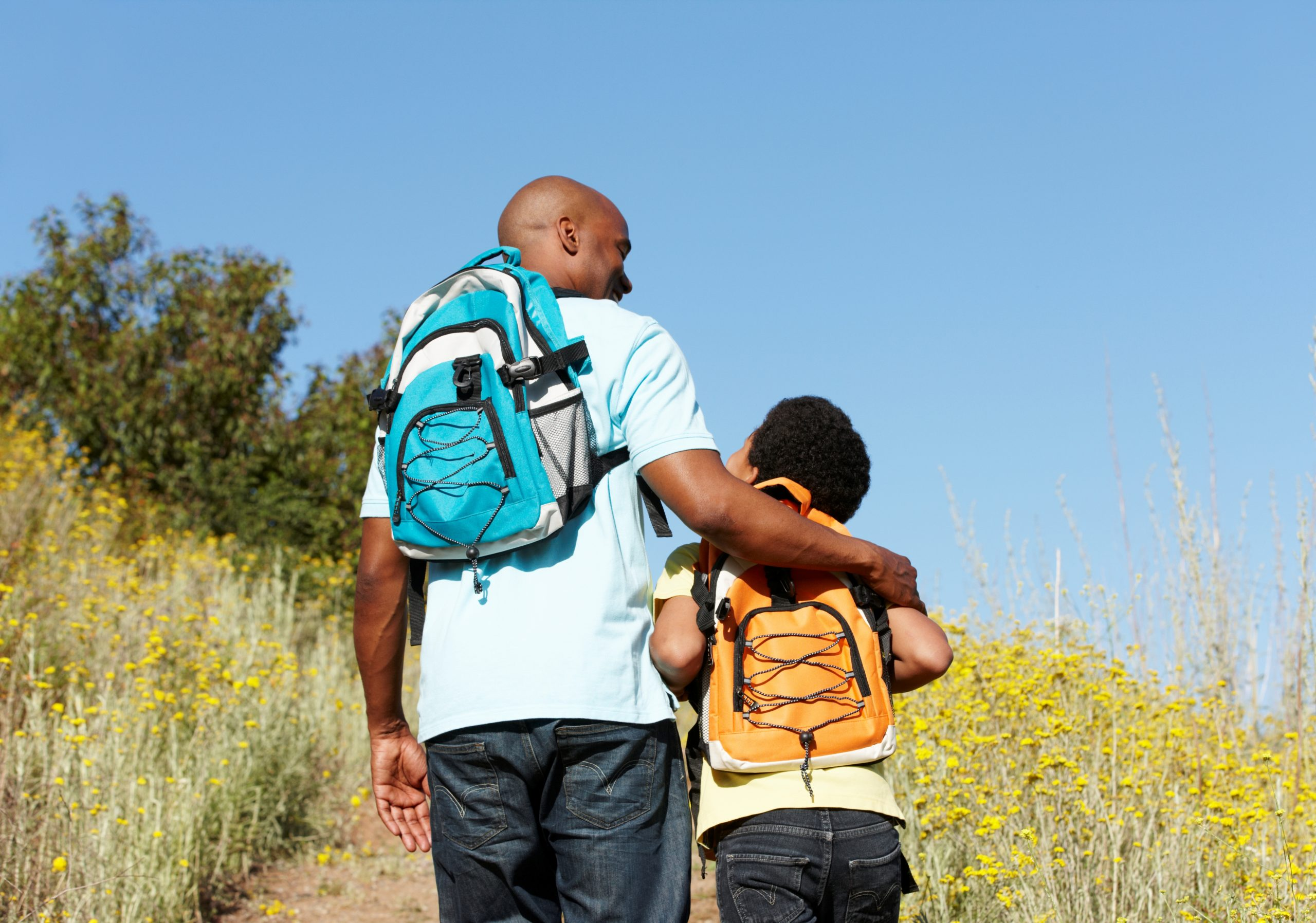 Father and son on hike